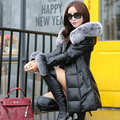 Новый 2016 зима овчины кожа женщина долго с природный фокс меховым воротником вниз пальто мода женская одежда бесплатная доставка