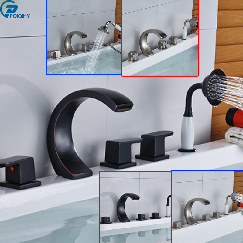 POIQIHY Oil Rubbed Bronze/brulshed vessel Spout Bathroom Tub Faucet With pullout Hand Shower Mixer tap
