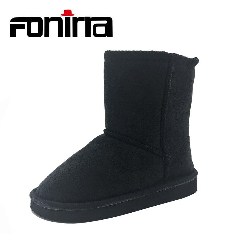 Mode Classique Enfants Neige Noir Bottes D hiver Chaud Suédé Enfants  Chaussons Unisexe Plat Cheville Chaussures 246 e55cc8449de8