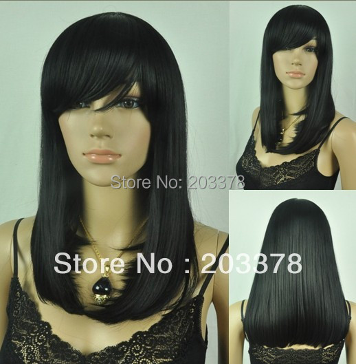 Pretty Medium Long Straight Black Synthetic hair Wig (Free Shipping) 10pcs/lot mix order