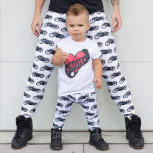 2019 Summer Mother Daughter Father Son Clothes Motorcycle Family Look Trousers Pants Pajamas Casual Family Matching Outfits(China)