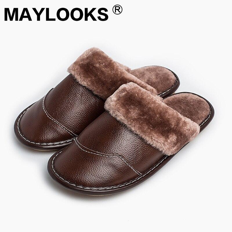 Mäns tofflor Vinter äkta läder tjock med plysch heminredning glidande slitskydd 2018 Ny Hot Sale Maylooks M-8832