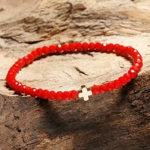 Image 2 - New Arrival Crystal Bracelet Women Girl Cute Small Cross Charm Ladies Braclet Yoga Prayer Jewelry Strand Braslet Moda Mujer Gift
