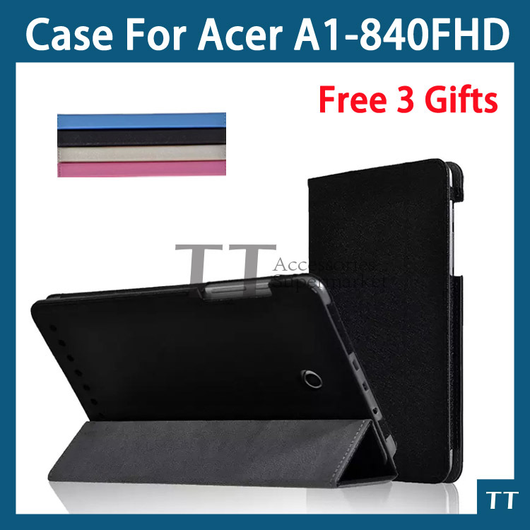 Free shipping Pu leather Stand tablet case for Acer Iconia Tab 8 A1-840FHD A1-840 case + Free 3 gifts protective pu leather case for acer iconia tab a510 white