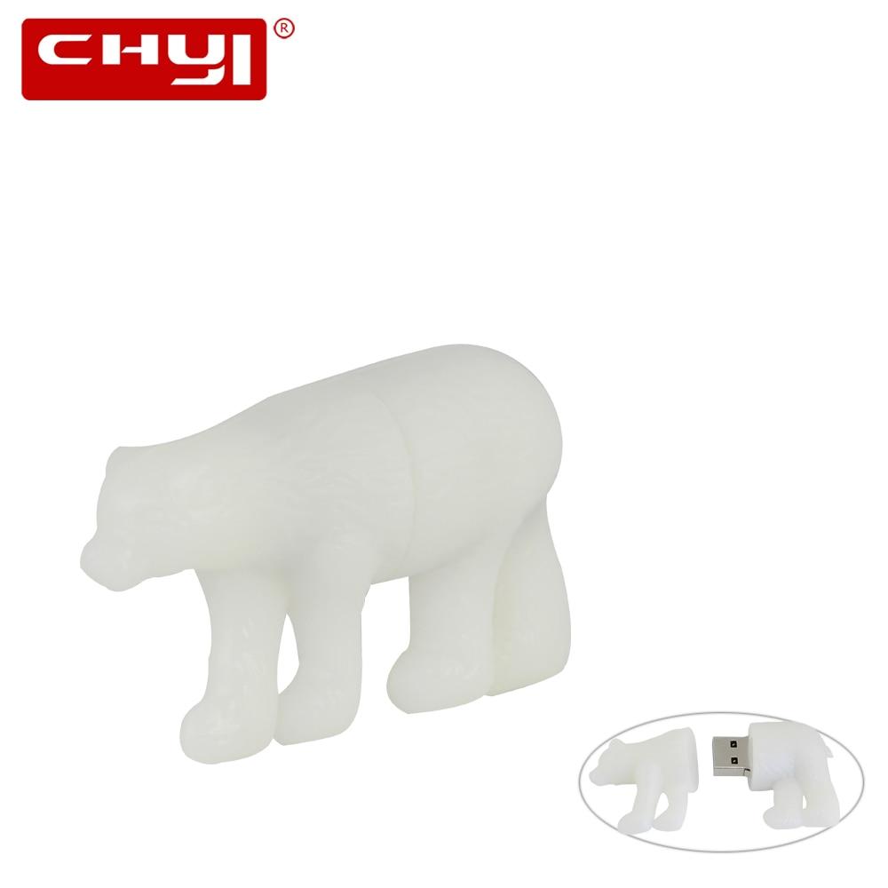 Polar bear USB Flash Drive Pen Driver Cartoon Animal Memory Stick 4GB 8GB 16GB 32GB 64GB White Pendrive U Disk Thumb Drive Gift