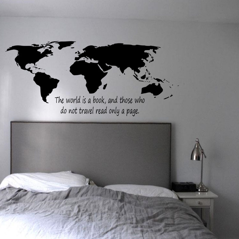 buckoo wall stickers the world is a book world map wall stickers bedroom high quality home decor. Black Bedroom Furniture Sets. Home Design Ideas