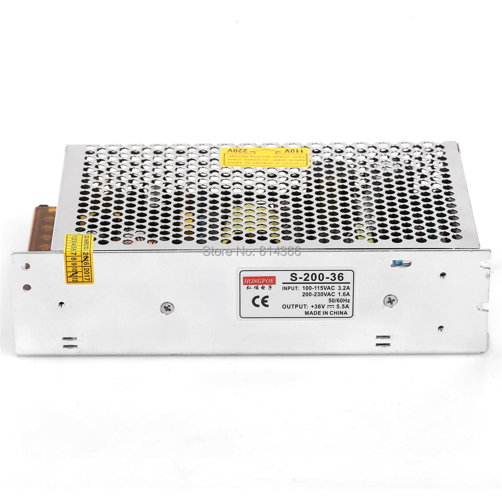 15PCS 200W 36V power supply 36V LED Driver 36V 5.5A power supply 36V 200W S-200-36 DC36V 200w led driver dc36v 6 0a high power led driver for flood light street light ip65 constant current drive power supply
