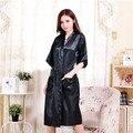 2016 New Arrival Mulheres Sexy Black Satin Kimono Robes Vestir vestidos Para As Mulheres 2016 Venda Quente Das Mulheres Robes De Seda Barato venda