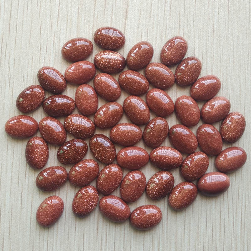 Wholesale 50pcs/lot 2017 Fashion good quality gold sand stone Oval CAB CABOCHON beads 10x14mm for jewelry making free shipping