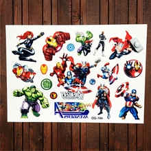 FANRUI Avengers Super Heros Hulk Waterproof Temporary Tattoo For Child Fake Flash Tattoo Sticker Boy Kids Tatoo Iron Man Thor
