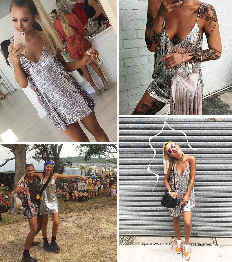 BerryGo Sexy silver sequin women dress Deep v neck sleeveless short dress Elegant evening party dresses casual summer vestidos 4