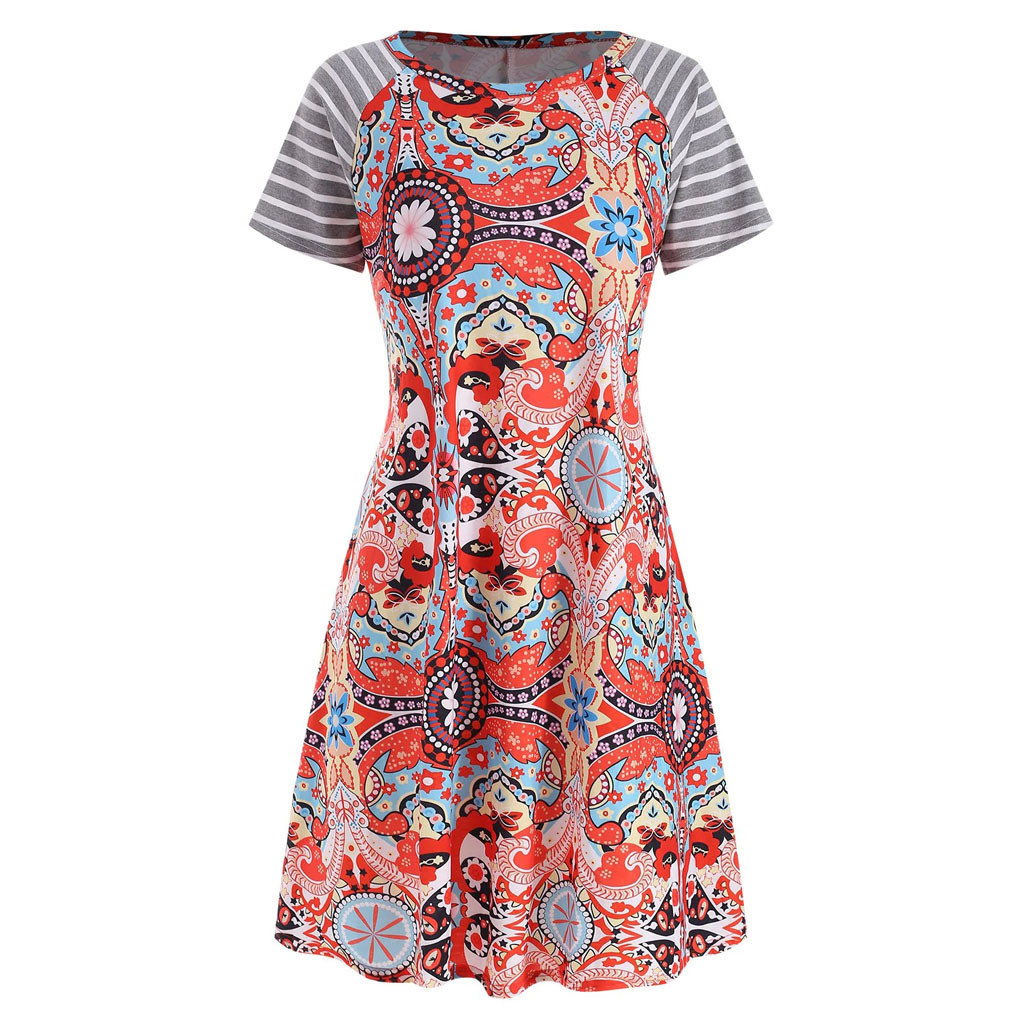 Summer Striped Print Short Sleeve Vintage Ethnic Element Loose Elegant Dress Summer Outdoor Casual Daily Wear Plus Size Sundress