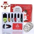 12 unids NACIDO PRETTY Nail Art Stamping Set de Navidad con Plantilla Stamping Stamper y Scrpaer y Polaco