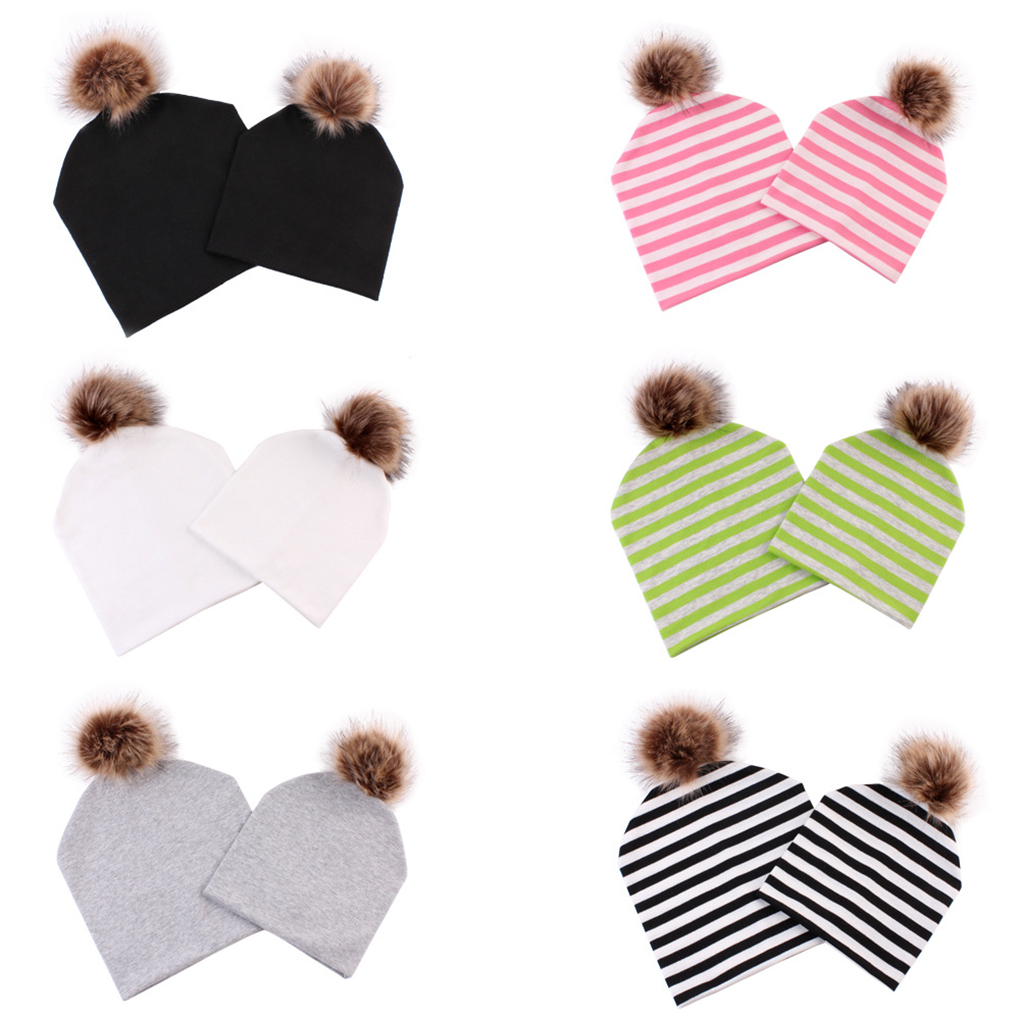 2Pcs/set Mother Kids Pompom Beanie Caps Hats Winter Autumn B