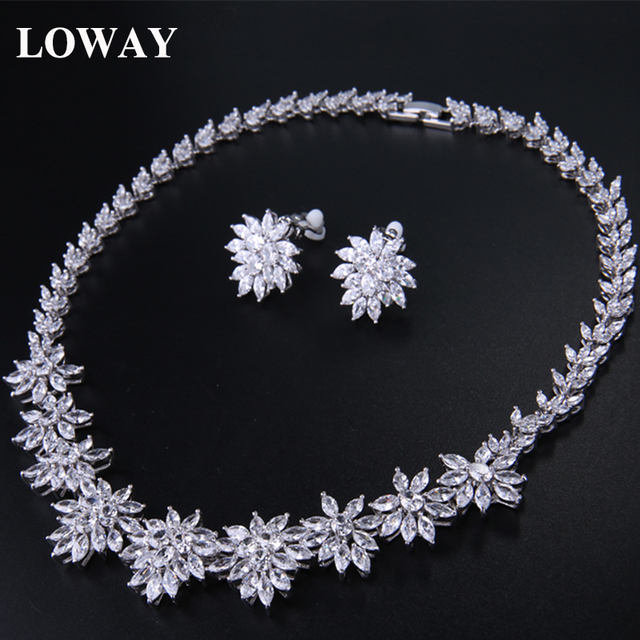 LOWAY White Gold Plate Marquise Stone Flower Cubic Zirconia Necklace Earrings Romantic Wedding Jewelry Set XL1886