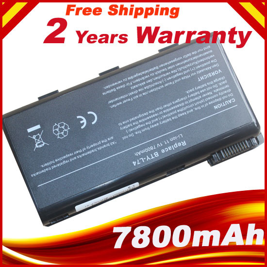 7800mAh 9 Cells Laptop Battery For MSI CX620 A6205 CX500 CR630 CX623  CR610 CR700 BTY-L74 BTY-L75