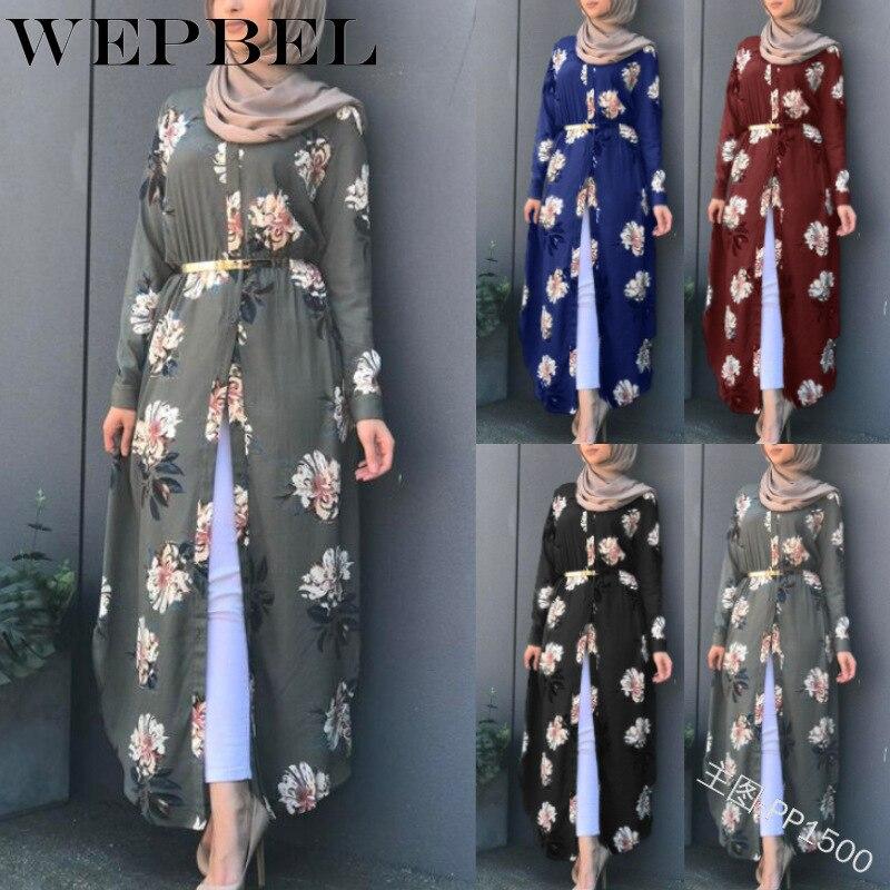 WEPBEL Muslim Women Dress Elegant Floral Full Sleeve Flower Print Casual Sashes New Fashion Summer Islam Lady Abaya Dresses
