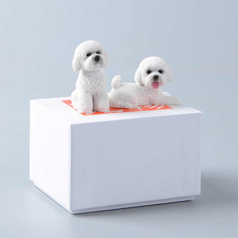 Koteta 2pcs/set Mini Teddy Dogs Resin Decoration Figures for Kids Gift Collectible Simulation Model Action Figure Animal Dolls