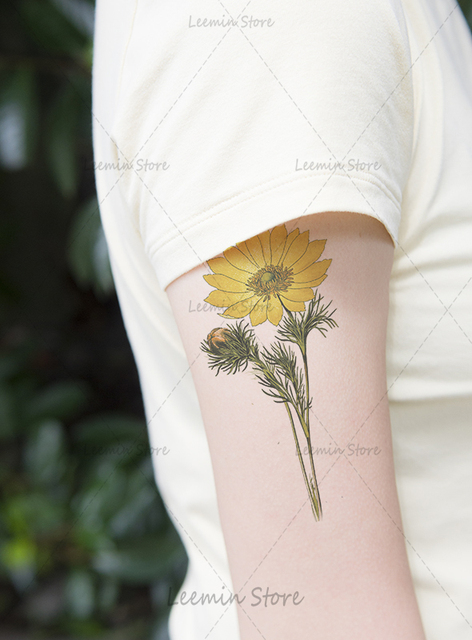 Us 099 Plantaardige Tattoo Retro Zonnebloem Tattoo Sticker Arm In Plantaardige Tattoo Retro Zonnebloem Tattoo Sticker Arm Van Tijdelijke