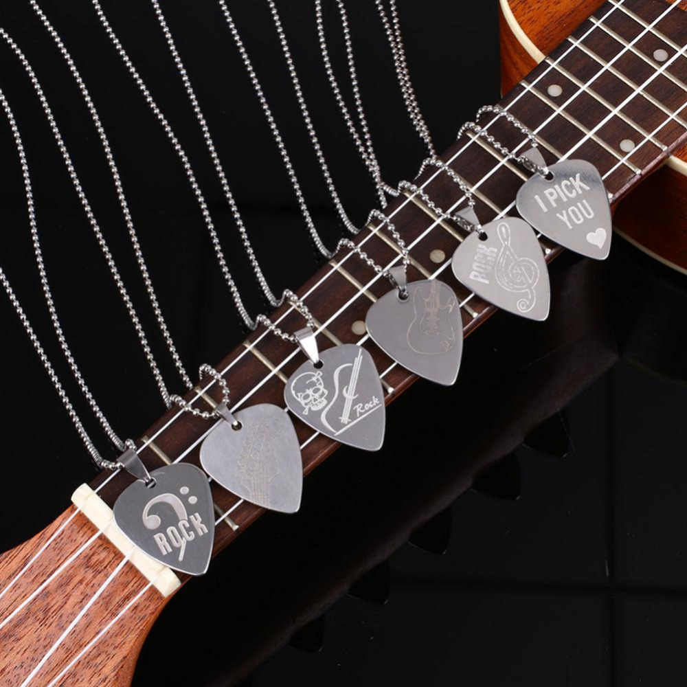 Guitar Part Picks Silver Necklace Guitar Necklace Neck Picks 6 Kinds Of Necklace Drop Guitar Pick With Stainless Steel Chain