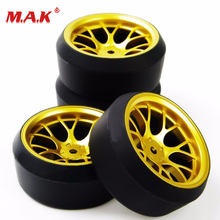 DHG+PP0370 4Pcs/Set 1/10 Scale  Drift Tires and Wheel Rim with 12mm Hex fit On-Road Car Model Accessory