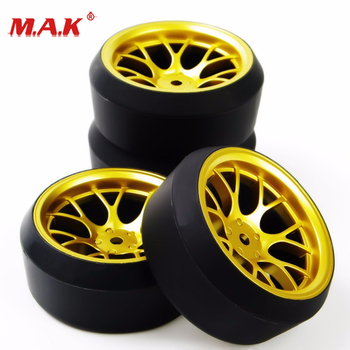 DHG+PP0370 4Pcs/Set 1/10 Scale Drift Tires and Wheel Rim with 12mm Hex fit On-Road Car Model Accessory image