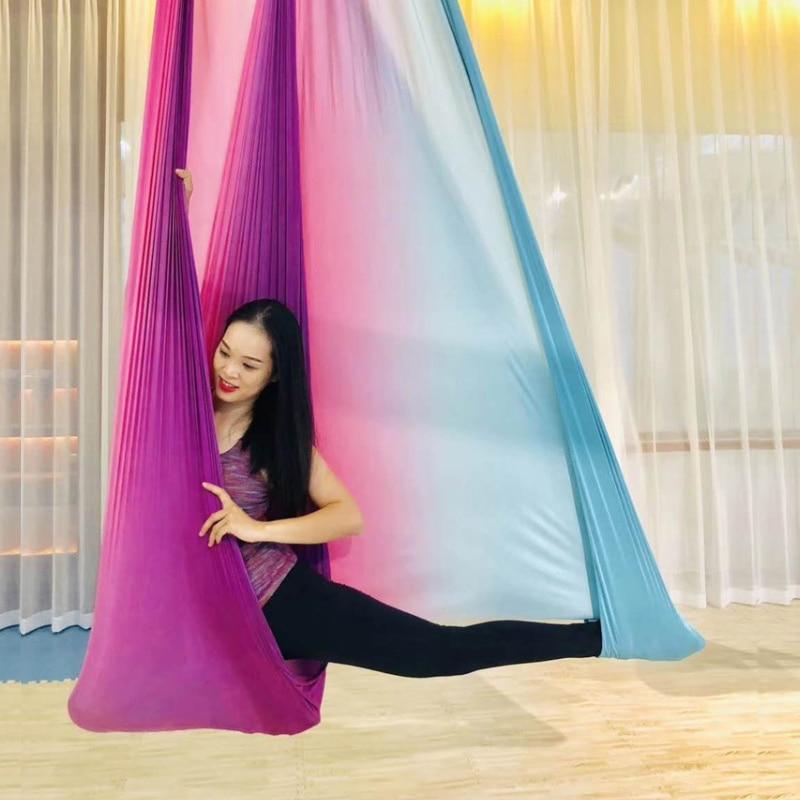 ✔  Эластичный йога-гамак Антигравитационные воздушные йога-качели 5-метровый гамак-йога-качели 28 цвето ①