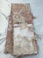 5yards AA8410 1 ostrich feather applique 3d Best quality rhinestone embroidery net mesh lace fabric for wedding dress
