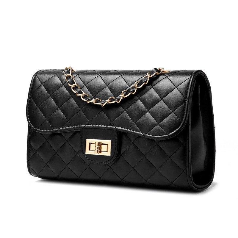 Designer PU Leather Messenger Chain Bags Plaid Women Mini Black Party Tote Clutch Handbag Crossbody Bag