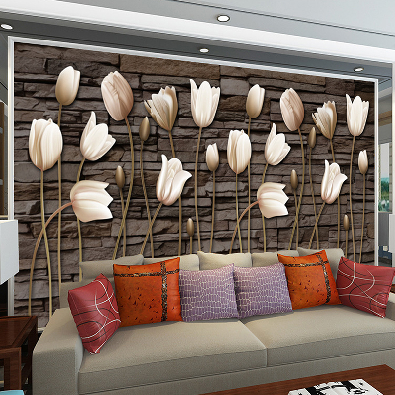 Custom 3d Photo Wallpaper Mural Living Room Tulip Retro Brick Wall European 3d Painting Sofa TV Background Non-woven Wallpapers free shipping european corridor wall painting background wallpaper hawaii non woven wallpaper mural
