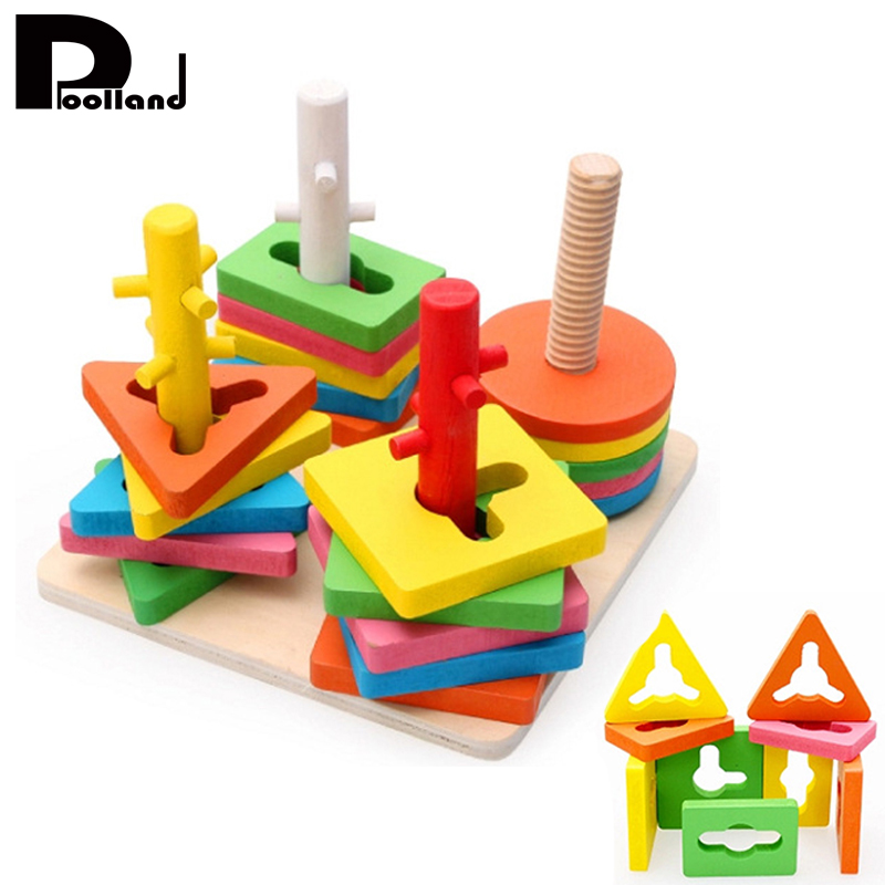 Kids Educational Game Wooden Block Toy 4 Pillar Matching Color Shape Geometric Board Blocks Kids Baby Building Blocks P20 wooden tower wood building blocks kids toy domino 54pcs stacker extract building blocks children educational game gift 4pcs dice