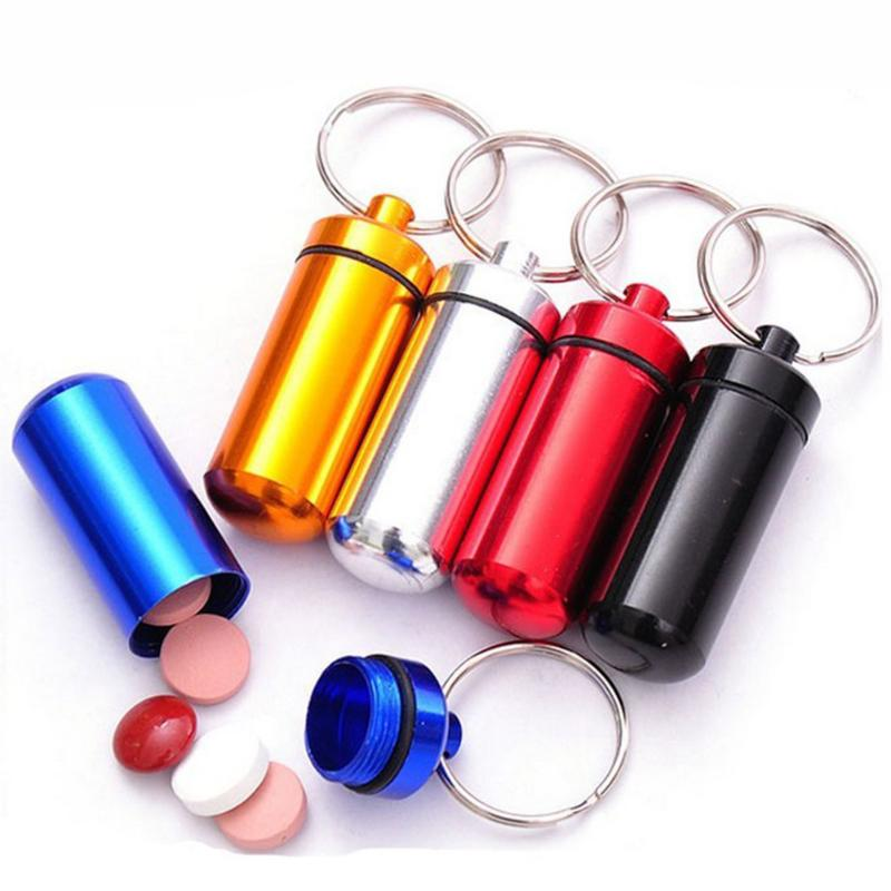 Outdoors Portable Box Key Chain Mini Waterproof Storage Medicine Pill Box Case Bottle Drug Holder Keychain Keyring Container
