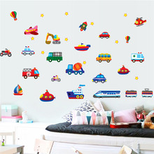 cars train motor bike ship transportation wall stickers for kids room decoration decals children wall art car sticker 7212. 4.0