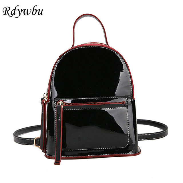 Rdywbu Shiny Patent Pu Leather Backpack Girls New Cute Laser Travel