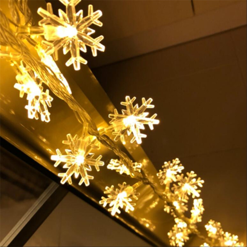 10M 50 LED Snowflake String Fairy Lights Nytt År Xmas Party - Festlig belysning - Foto 2