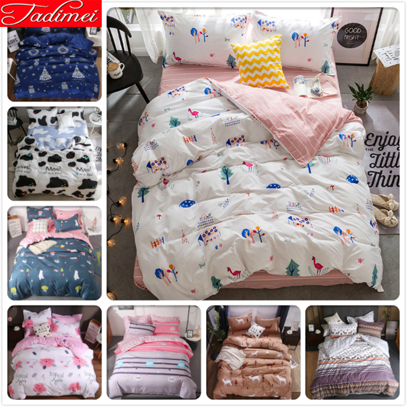 3/4 pcs Bedding Set Adult Kids Child Soft Cotton Bed Linens Single Full Twin Queen King Size Quilt Comforter Duvet Cover 150x2003/4 pcs Bedding Set Adult Kids Child Soft Cotton Bed Linens Single Full Twin Queen King Size Quilt Comforter Duvet Cover 150x200