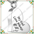 "CMJ8529  Silver/Gold ""My dad love always ""cremation memorial dad pendants ashes necklace  jewelry"