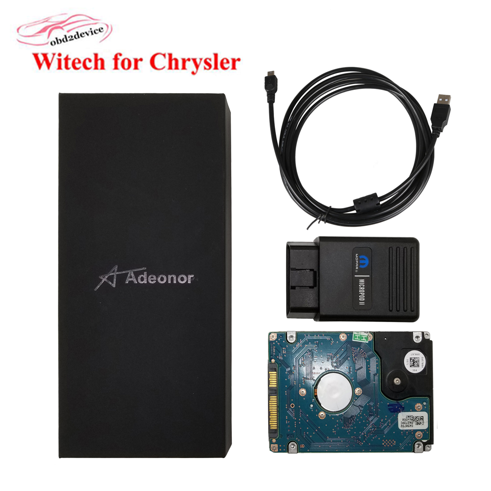 2018 WITech MicroPod 2 for Chrysler Car Scanner Auto Professional Programmer Diagnostic Tool with Software HDD with GIFT BOX