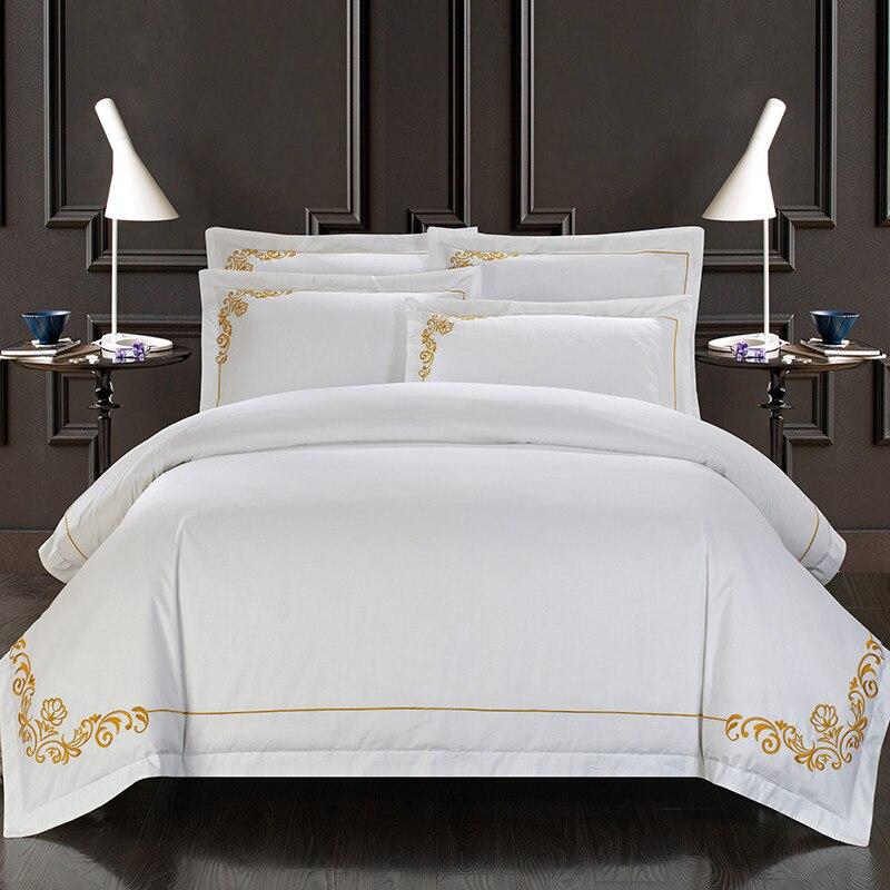60 วินาทีอียิปต์ผ้าฝ้าย Oriental เย็บปักถักร้อยสีขาวโรงแรมชุดเครื่องนอน King Queen ขนาดเตียงชุดผ้านวมชุดขายส่ง-ใน ชุดเครื่องนอน จาก บ้านและสวน บน   1