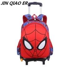 3627694a6 Extraíble niños bolsas de escuela con 3 ruedas cartoon Spiderman mochilas  niños mochila Trolley equipaje ruedas