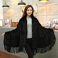 2016 nueva visón invierno chal de piel de visón bufandas chal con flecos bufandas