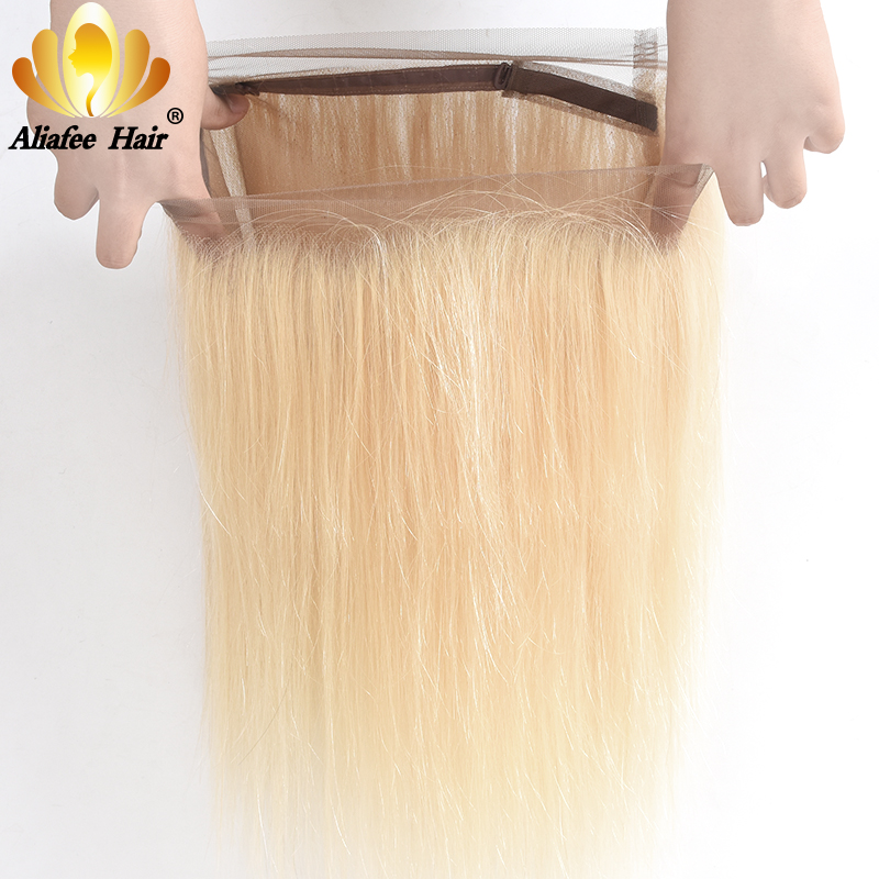 Ali Afee Hair #613 Color Brazilian Straight Pre Plucked 360 blonde Lace Frontal Hair Remy Human Hair Extension Free Shipping