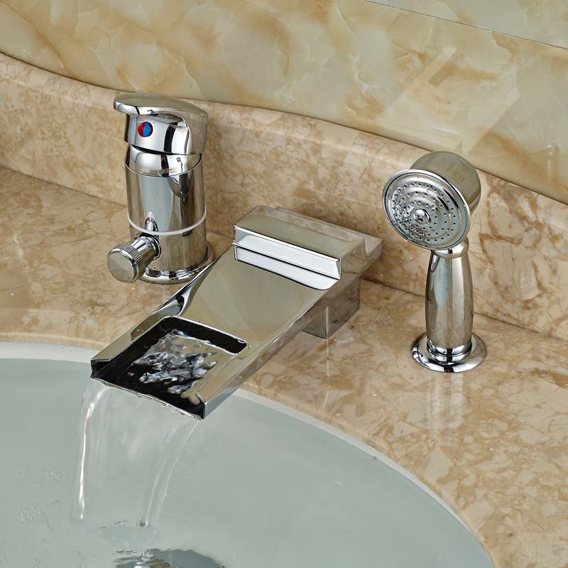 все цены на Single Handle Waterfall Long Spout Bathtub Mixer Faucet Deck Mount 3pcs with Handheld Shower онлайн
