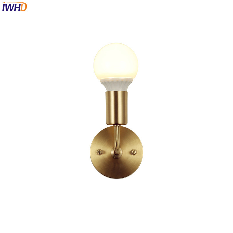 IWHD Modern Copper LED Bathroom Mirror Light Antique Nordic Simple LED Wall Lamp Beside Stair Lights Home Indoor Lighting iwhd nordic modern led wall light brass copper bathroom mirror beside lights vintage wall lamp sconce lamparas de pared