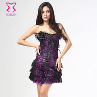 Victorian Purple Satin Black Lace Overbust Sexy Corsets And Bustiers Waist Trainning Corset Dress Corpetes Gothic