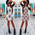 Новое прибытие Мода Осень Печати Мини Платья 2016 случайный о-образным вырезом короткие рукава Цветочный печати оболочка dress плюс размер