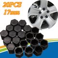 20pcs 17mm Black Silicone Hex Protector Wheel Lug Bolt Nut Cap Valve Stem Cover