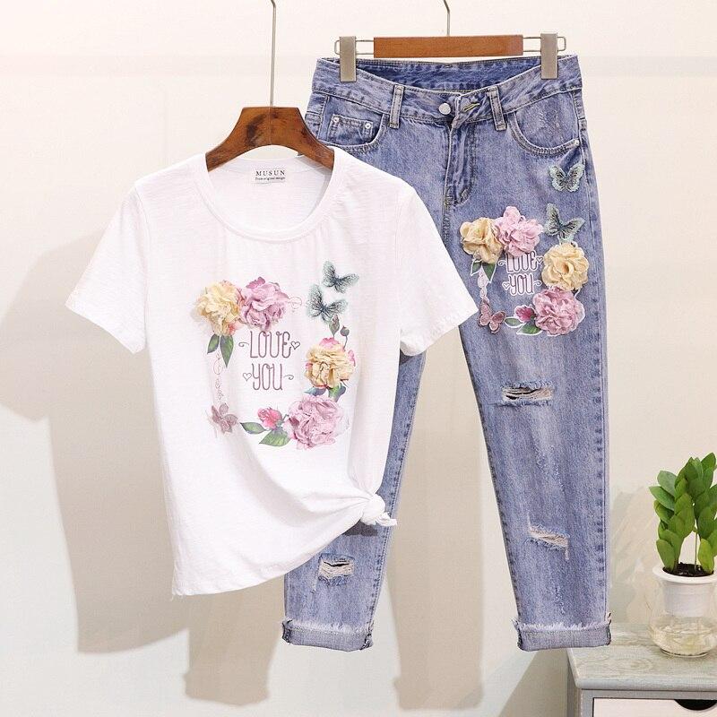 Nouveau T-shirt brodé en coton imprimé fleur papillon + costume Jeans creux neuf cents printemps été ensemble deux pièces pour femmes étudiant