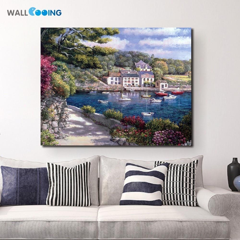 New Inkjet Islands Canvas Painting Home Decorative Mediterranean Venice Sailboat Landscape