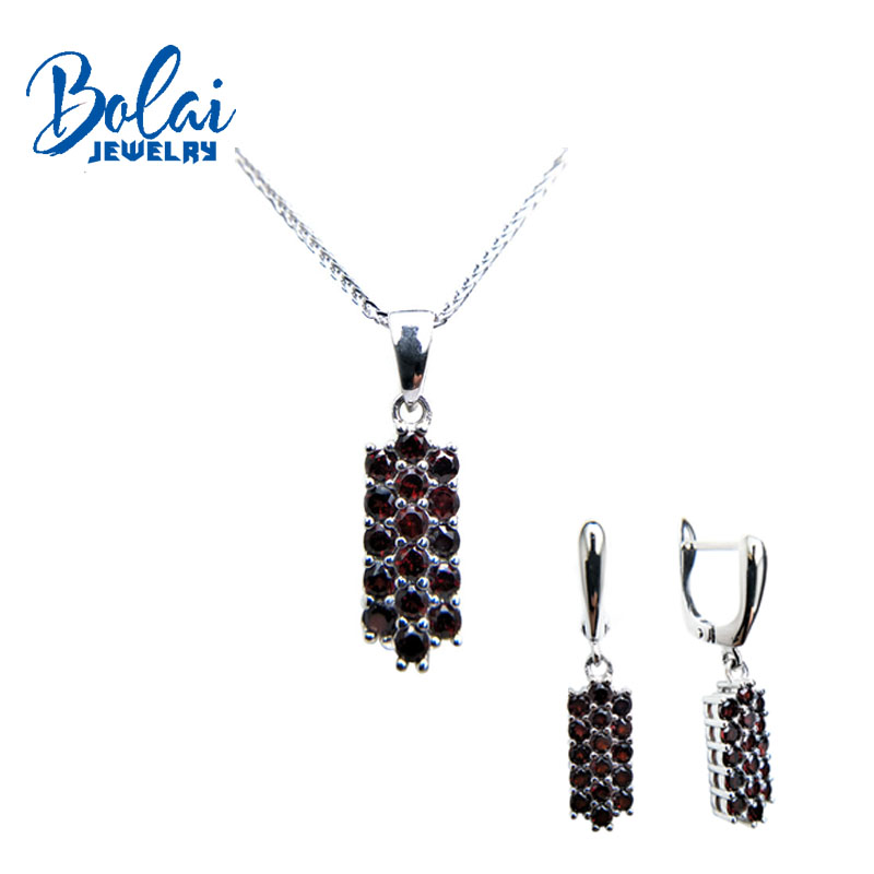 Bolaijewelry,925 Sterling silver fine jewelry set natural garnet gemstone clasp earring pendant necklace for madam party gift jewelry set natural pearl necklace and drop earring gemstone jewelry 925 sterling silver party necklace double layers fine jewel